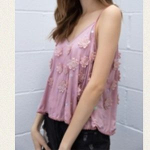 Swing Cropped Cami with Embroidered flower Detail